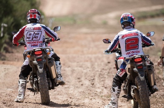 Marc Marquez and Joan Barreda riding the new CRF1000L Africa Twin