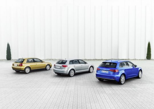 Audi A3, Generation 1, Year of manufacture 1996 Audi A3 Sportback, Generation 2, Year of manufacture 2004 Audi A3 Sportback, Generation 3, Year of manufacture 2016